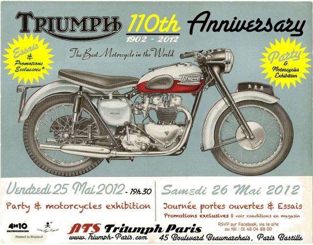 Le flyer de la soirée organisée par ATS Motorcycles, à l'occasion des 110 ans de Triumph.