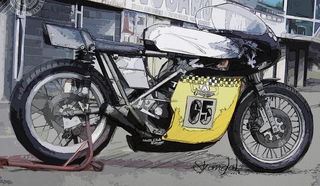 """Un dessin de Skandal le Borgne, représentant une Seeley Commando """"RAD Racing""""."""