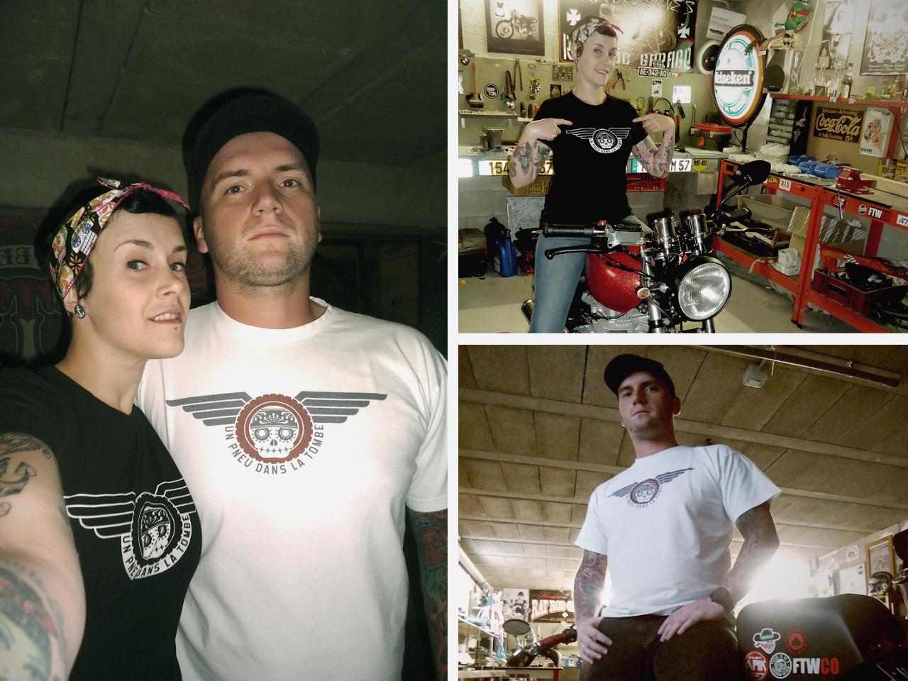 """Dave et Jennifer, portant chacun un t-shirt """"Un pneu dans la tombe""""."""