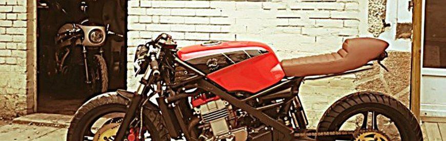 Une Kawasaki GPZ 500 cafe-racer, signée Lizard King Custom...