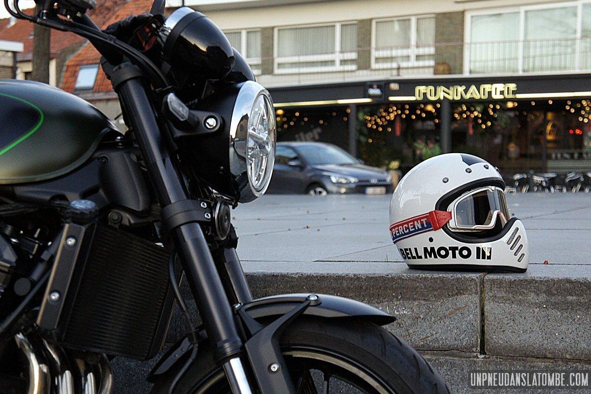 Smotly Casque de Motocross,Jagged Warrior Helmet Casque int/égral Harley Moto Vintage Alternative Predator avec Casque et Armure,M